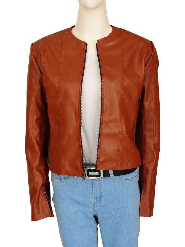 slim fit brown leather jacket, women slim fit brown leather jacket,