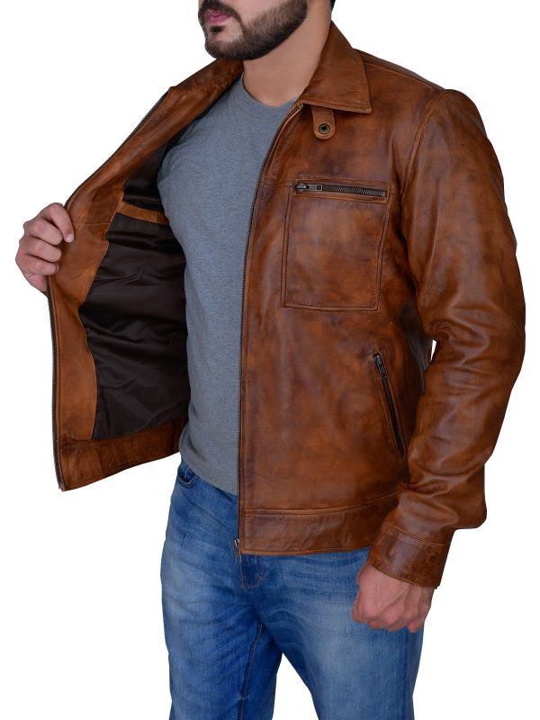 street fashion distressed brown leather jacket, street style distressed brown leather jacket,