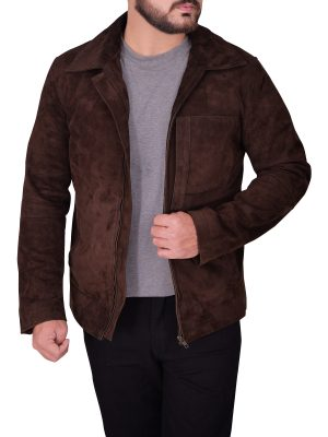 mauvetree men brown suede leather jacket, men dark brown suede leather jacket,