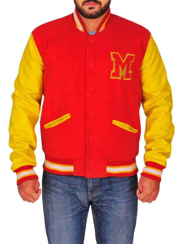 varsity jacket for men, men's red varsity jacket,