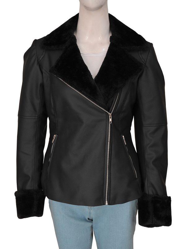 fashionable black faux fur leather jacket for women, women's black leather jacket,