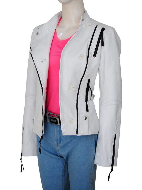 stylish women leather jacket, fashionable women white jacket,