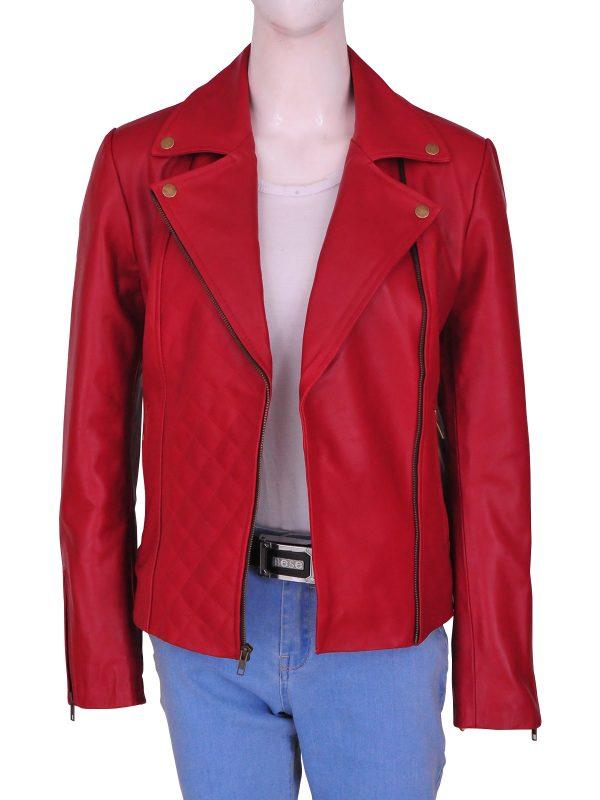 red brando leather jacket for women, women's red brando leather jacket,