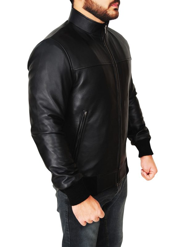 men rib knitted leather jacket, real leather men jacket,