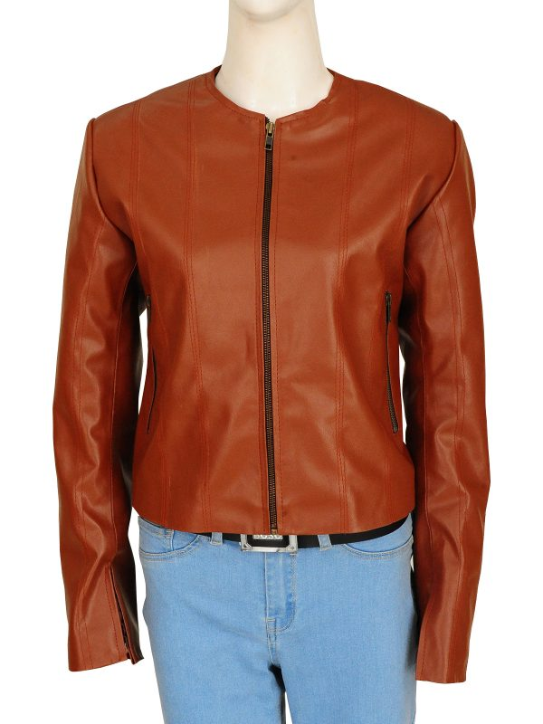 women brown biker leather jacket, women brown street style leather jacket,