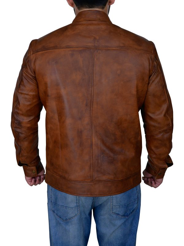 mauvetree distressed brown leather jacket, mauvetree men distressed brown leather jacket,