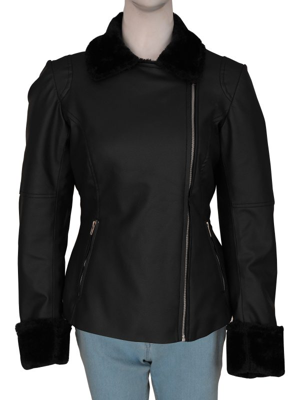 fur collar women leather jacket, faux fur collar and cuffs jacket for women,
