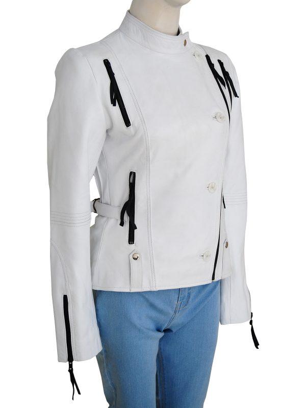 women white leather jacket, women white brando leather jacket,