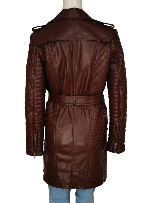 mauvetree women brown leather coat, mauvetree brown stylish leather coat,