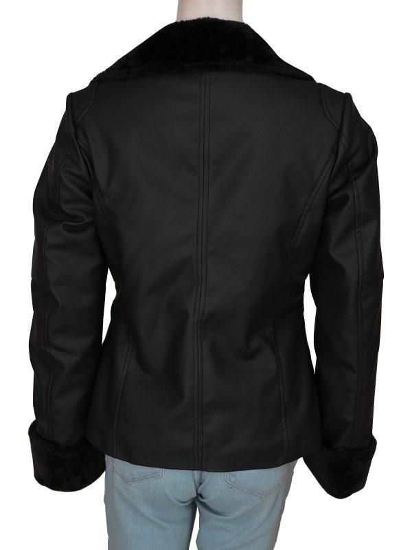 pure leather women jacket, faux fur women jacket,