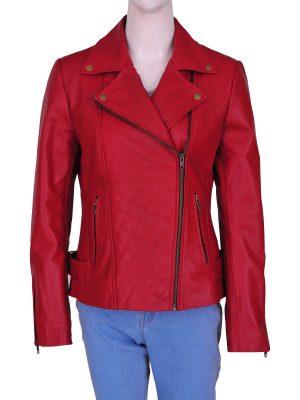 women red brando biker jacket, red brando biker leather jacket for women,