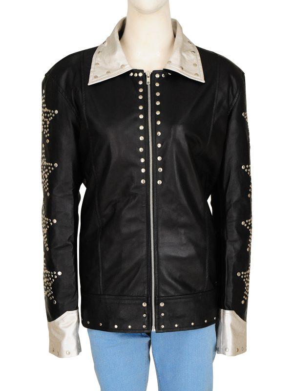 rockstar black women leather jacket, women funky leather jacket,