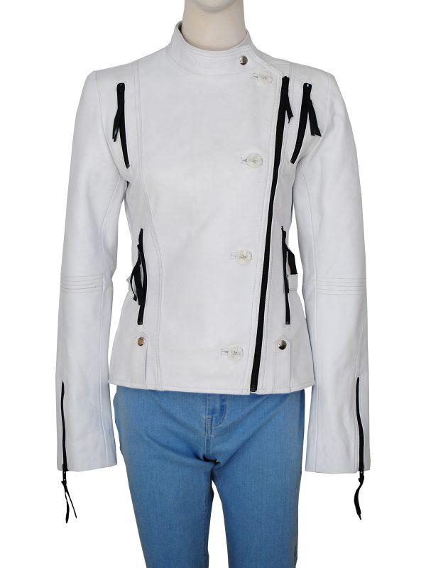 street fashion women white leather jacket, street style women white brando jacket,