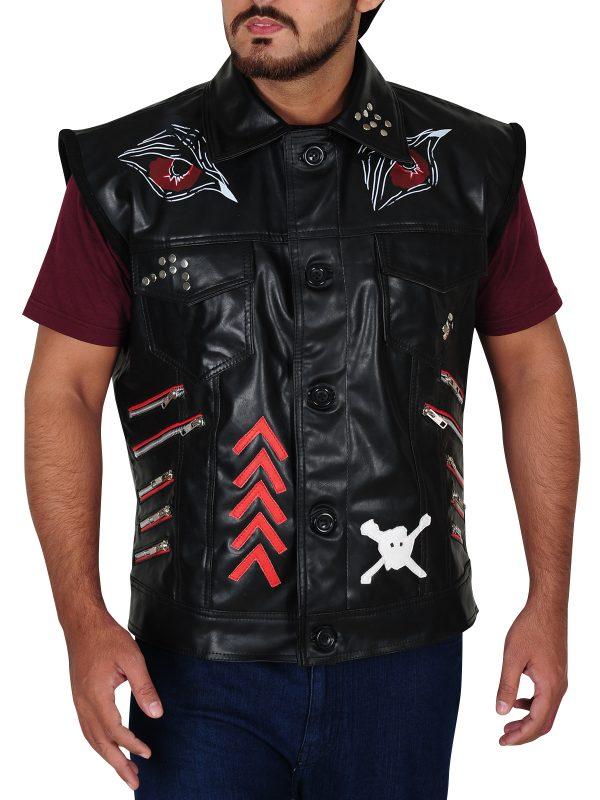 dope leather vest, black leather vest for bikers,