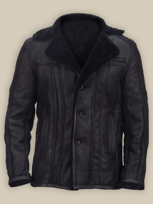 men shearling bomber leather jacket