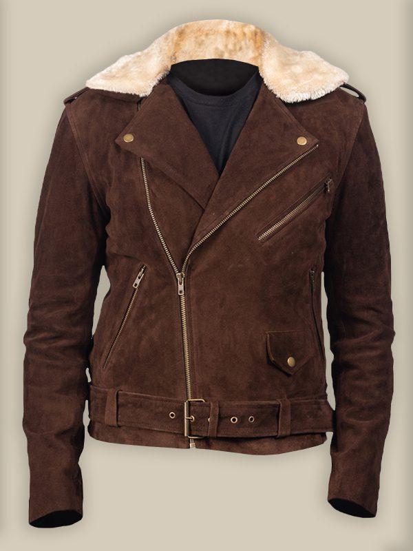 men brown suede leather jacket