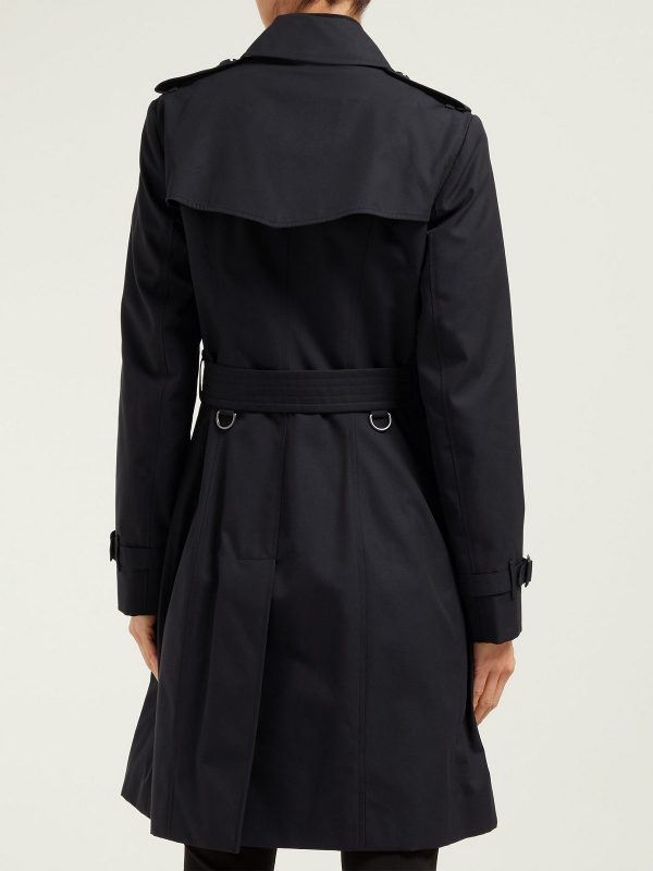 women black cotton trench