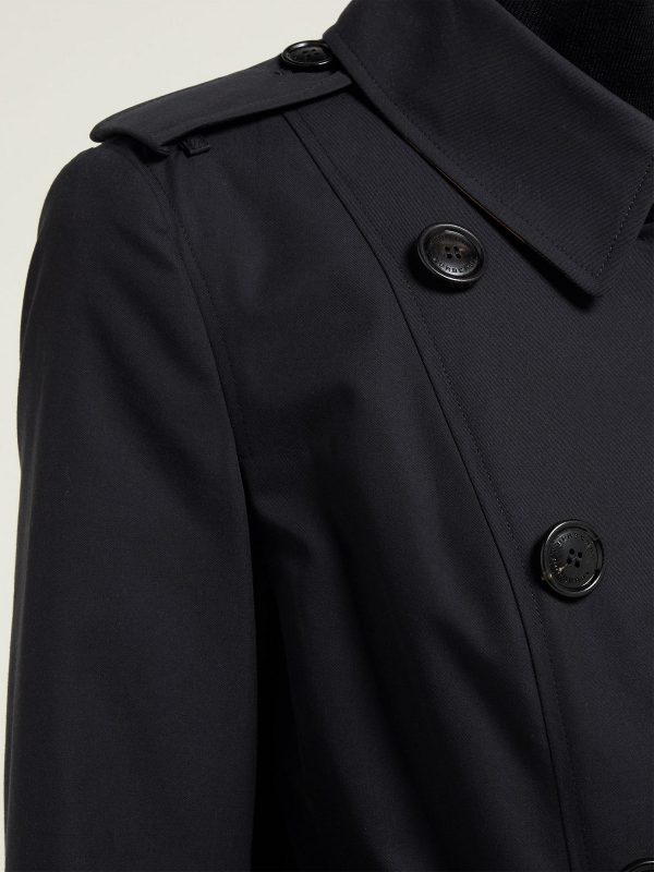 women faded black cotton trench