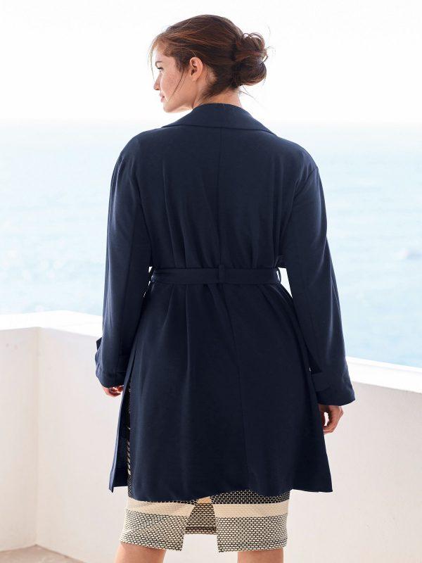 women navy blue trench