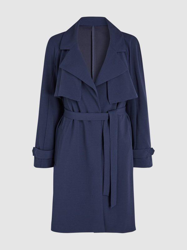 women blue wool duster coat