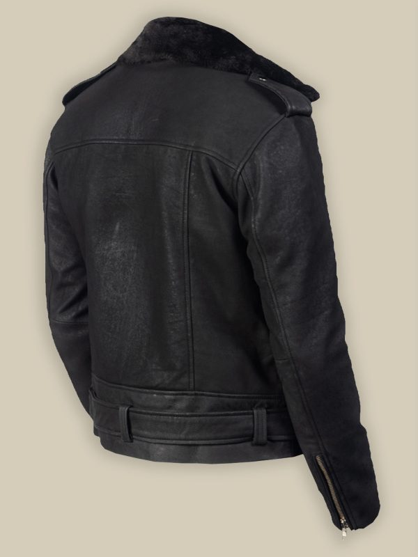 trending men black leather jacket