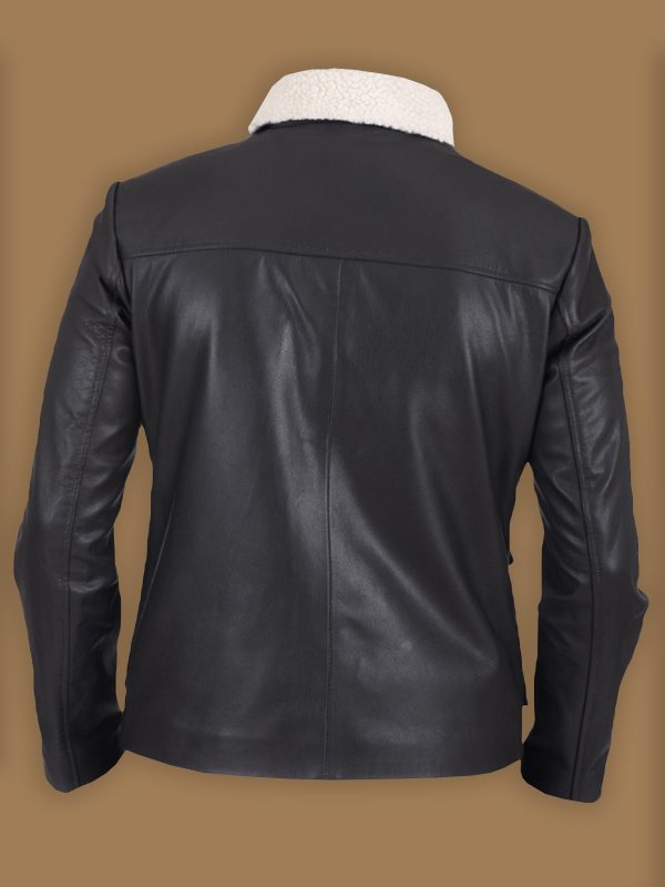 men pitch black shearling leather jacket