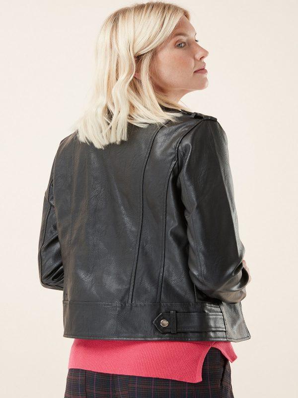 women pitch black jacket