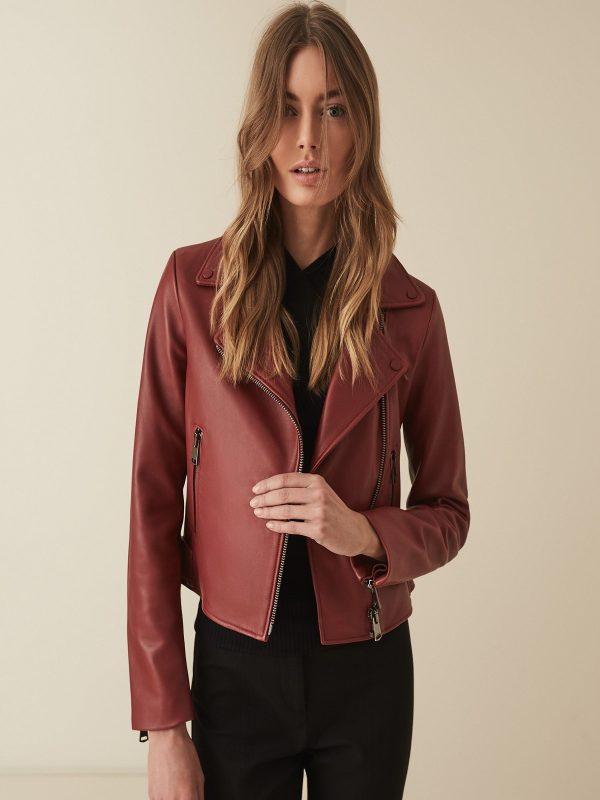 women red biker leather jacket