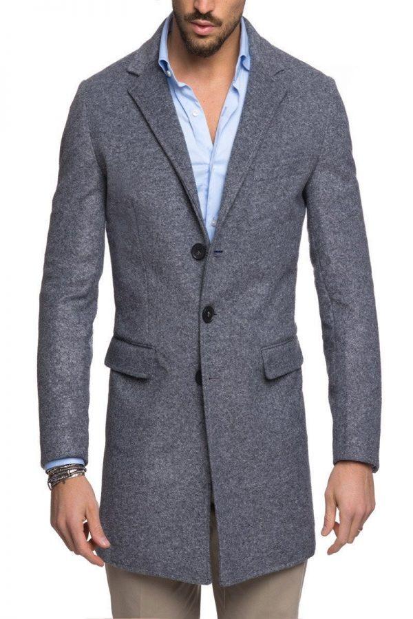 men grey wool trench