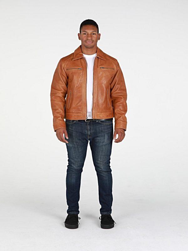 men tan biker leather jacket