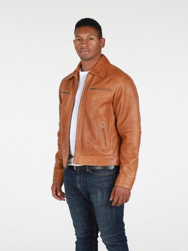 men tan brown biker jacket