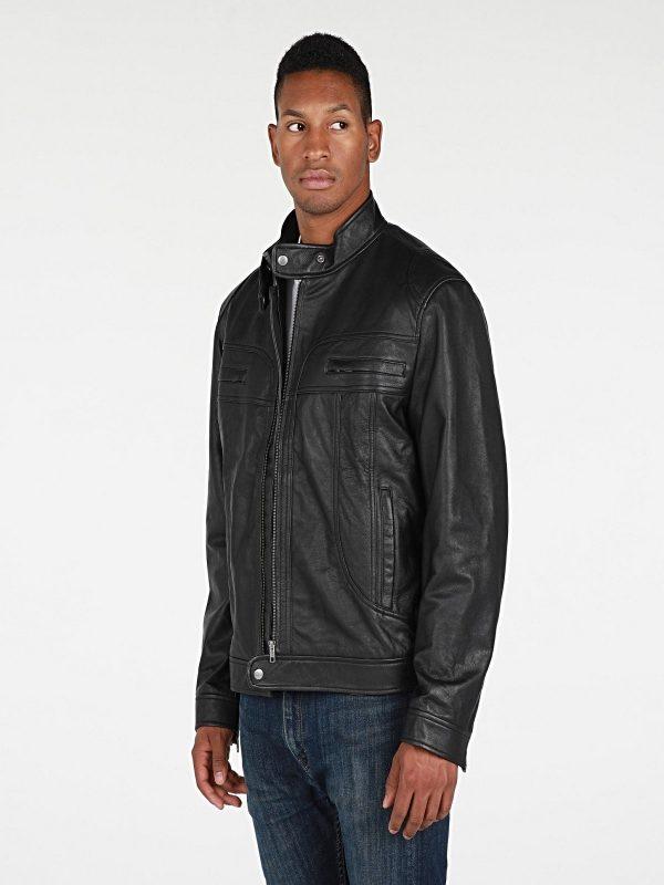 men black biker leather jacket