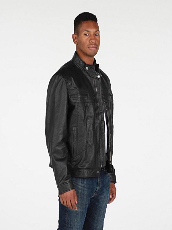 men jet black leather jacket
