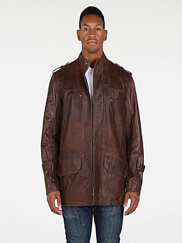 men brown utility leather jacket