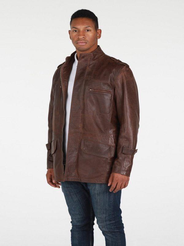 men dark brown leather jacket