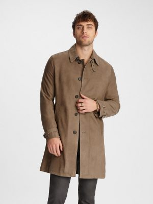 men brown cotton trench