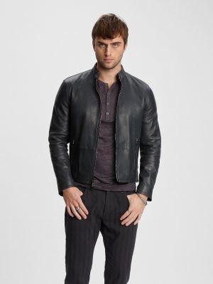 men smooth black jacket