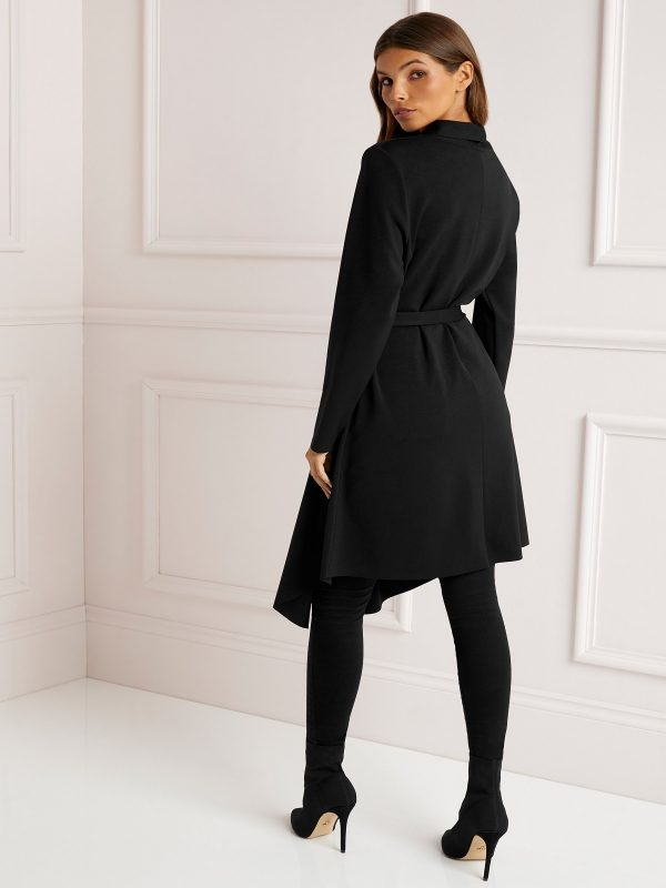 women black wool duster coat