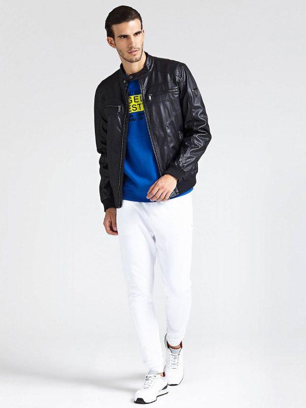 men pitch black leather jacket