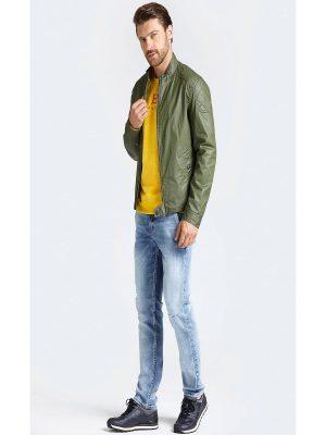trending men green leather jaket