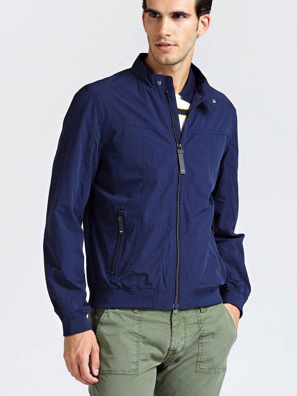 men dark blue cotton jacket
