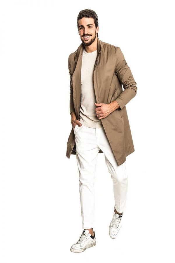 men light brown cotton trench