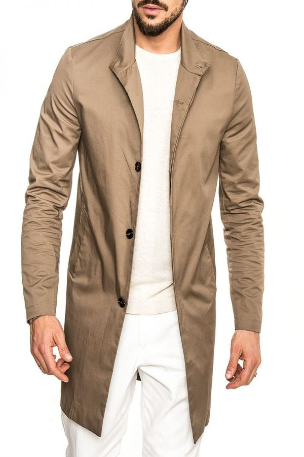men polish brown cotton trench