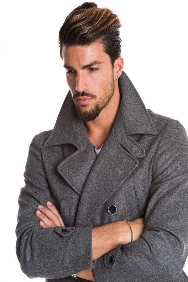 men sliver grey coat