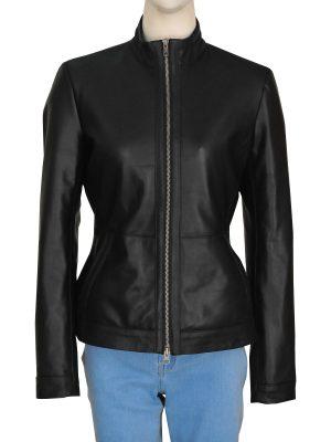 basic black leather jacket for women, casual black women leather jacket,