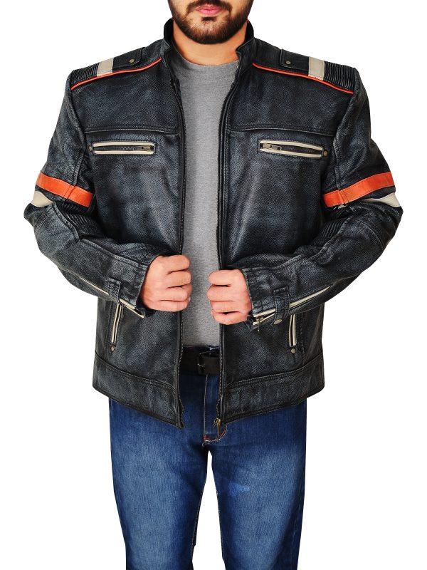 trendy cafe racer leather jacket, cafe racer distressed leather jacket,