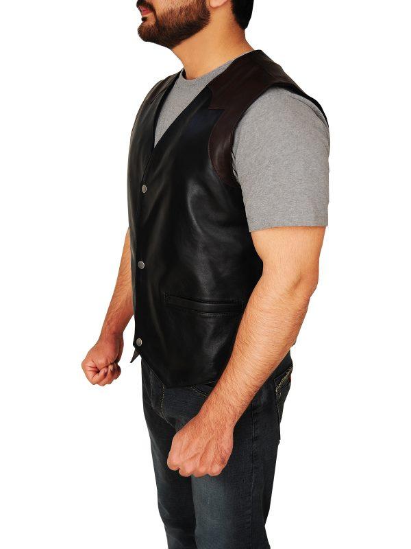men's cowboy leather vest, black cowboy vest,