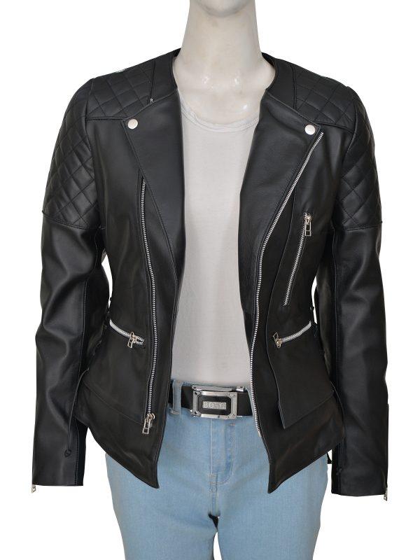 street style women motorcycle leather jacket, black biker leather jacket for women,