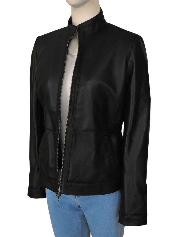 dashing black leather jacket for women, fashion women black leather jacket,