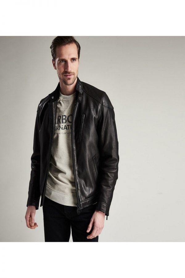 men black leather jacket